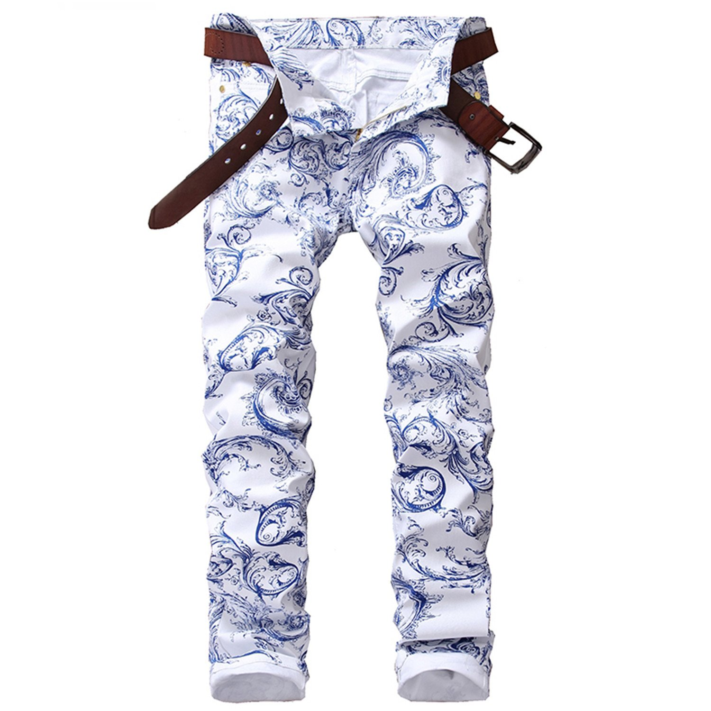 Carlos Foushee Men'S Blue And White Pattern Print Jeans Slim Stretch Denim Pencil Pants Long Trousers White 34