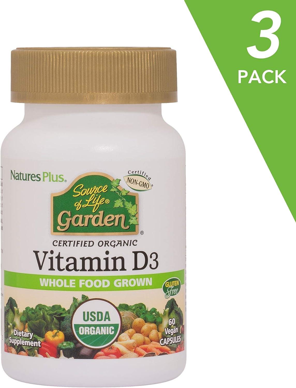 NaturesPlus Source of Life Garden Certified Organic Vitamin D3 (3 Pack) - Cholecalciferol 5000 iu - Whole Food Plant-Based Supplement - Vegetarian - 60 Vegan Capsules (90 Total Servings)