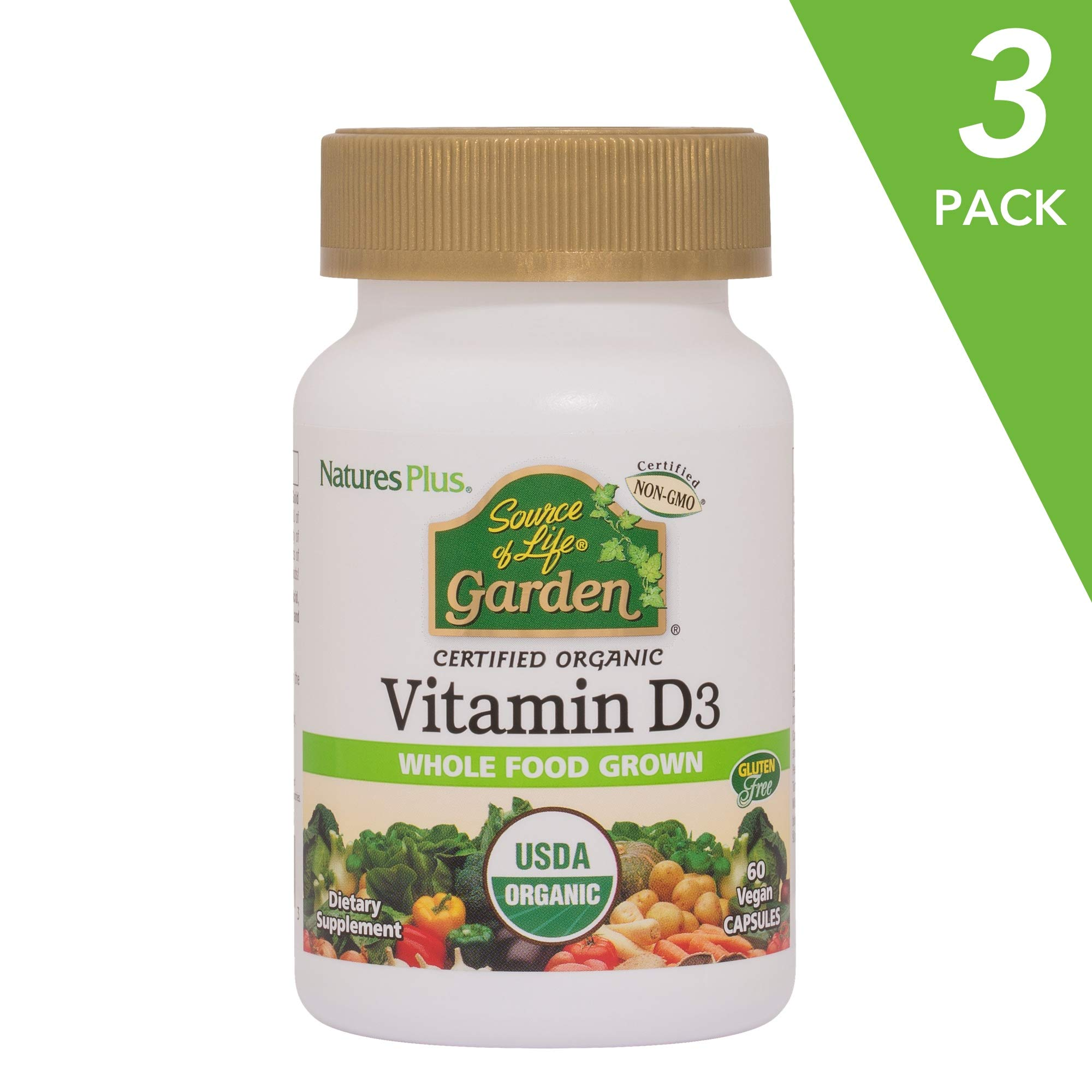 NaturesPlus Source of Life Garden Certified Organic Vitamin D3 (3 Pack) - Cholecalciferol 5000 iu, 60 Vegan Capsules - Whole Food Plant-Based Supplement - Vegetarian, Gluten-Free - 90 Total Servings