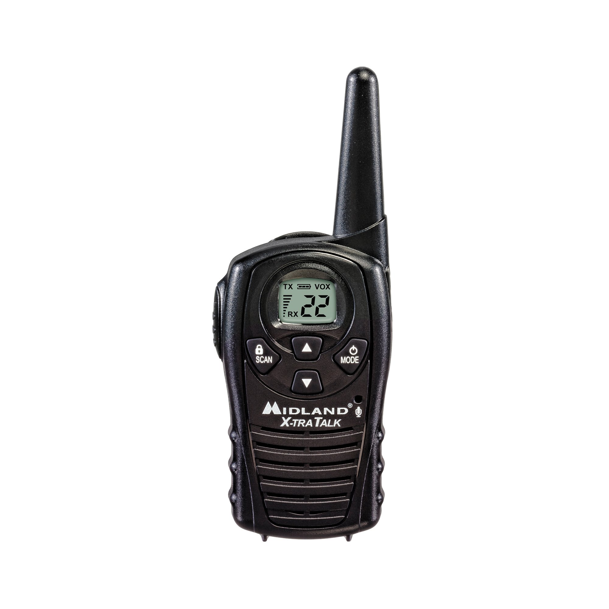 Midland - LXT118, FRS Walkie Talkies with Channel Scan - Up to 18 Mile Range Two Way Radio, Hands-Free VOX, Water Resistant (Pair Pack) (Black) by Midland (Image #2)
