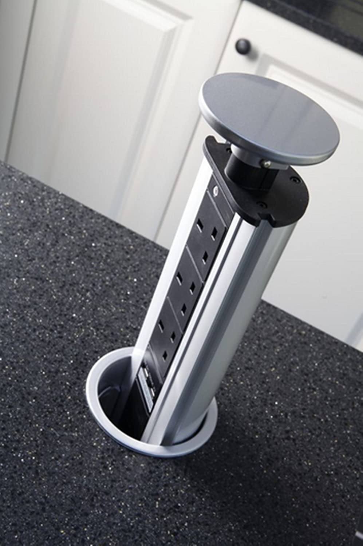 Pop Up Socket Power Pod 3 Plug Sockets 2 Usb For Kitchen Worktop Wiring Height Office Uk Diy Tools