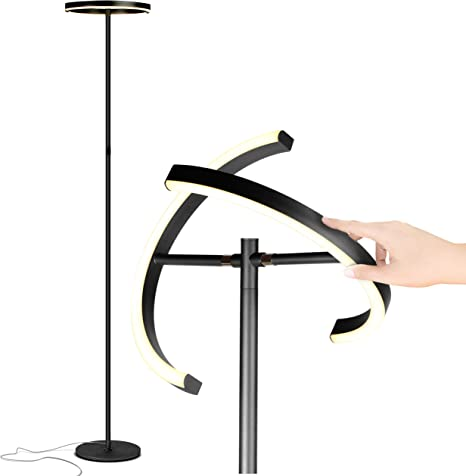 Classic Black Get Compliments: Modern Standing Pole Light for Bedrooms /& Offices Bright /& Dimmable Contemporary 48 Inch Tall Lamp Brightech Helix LED Floor Lamp for Living Rooms