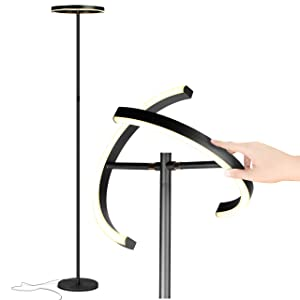 Brightech Halo Split - Modern LED Torchiere Floor Lamp - Tall, Pole, Standing Lamp for Living Rooms & Offices - Bright, Dimmable Light for Reading Books In Your Bedroom etc - Jet Black