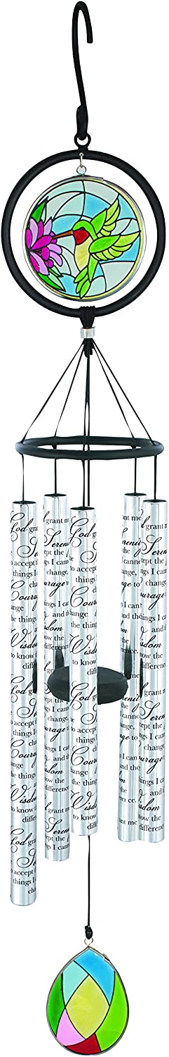 """Carson Wind Chime-Classic Stained Glass Sonnet-Serenity Prayer (35"""")"""
