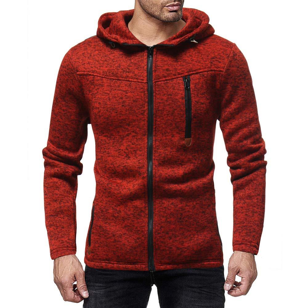 HHei_K Mens Casual Plain Zip up Hooded Long Sleeve Sweatshirt Slim Fit Hoodie Pocket Jacket Coat by HHei_K