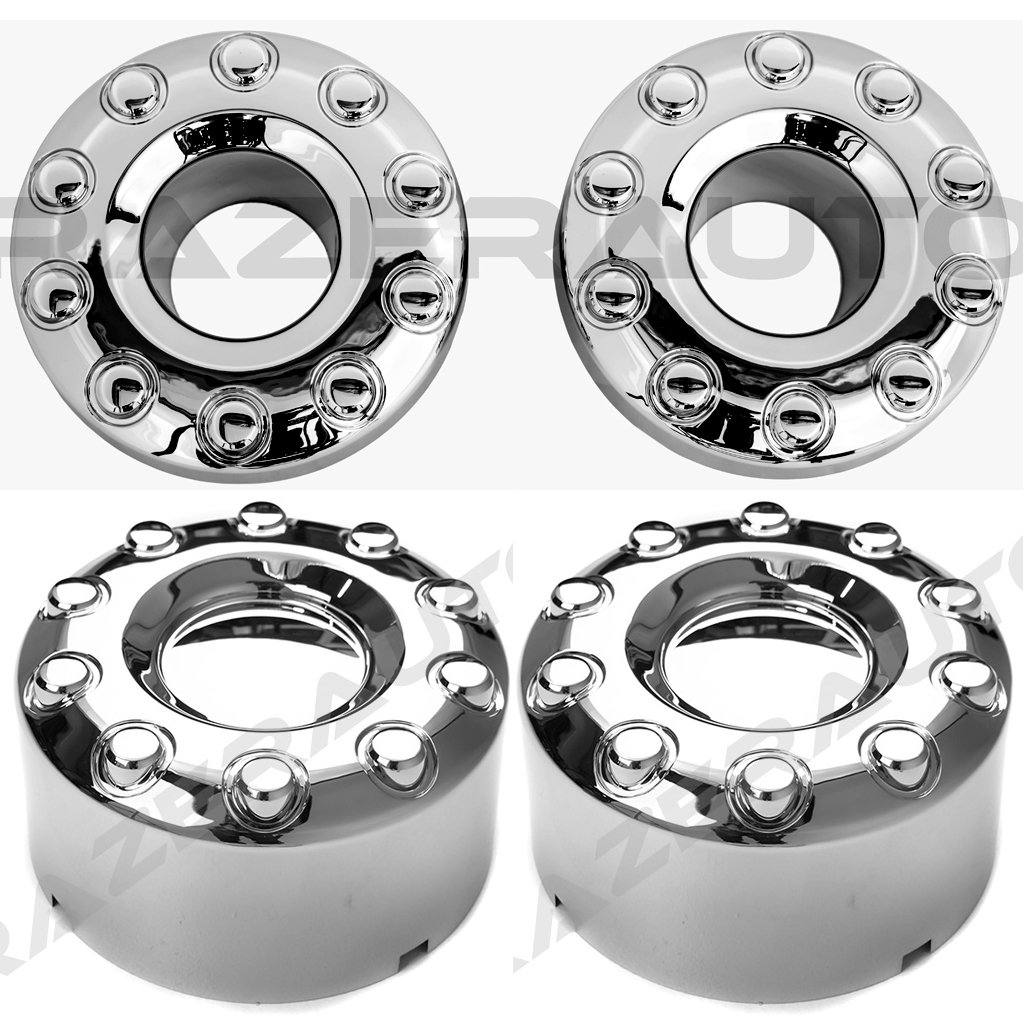 05-17 Ford Super Duty F350+F450+F550 Dually Truck ONLY Chrome 10 Lug FRONT+REAR Wheel Center Hub Cap 4pcs Set by Razer Auto (Image #1)