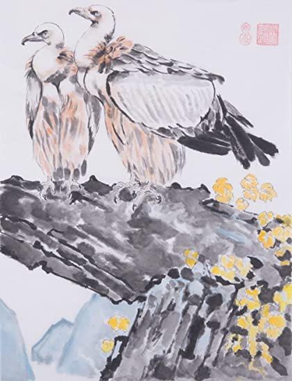 Amazon Com Oridental Art Eagle Bird Rock Tree Hand Painted