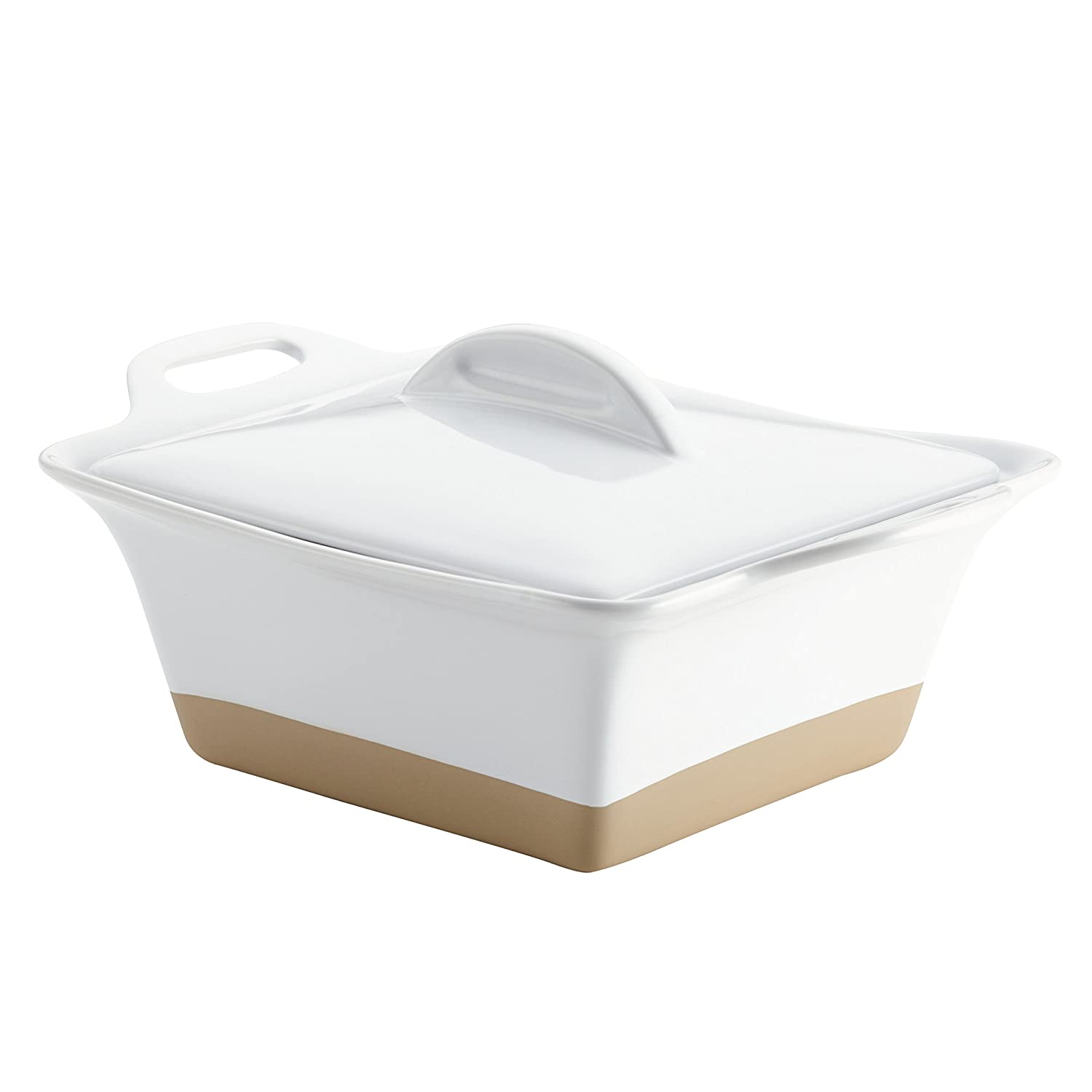 Rachael Ray 47027 Collection Inspired by Copenhagen Cozy Small Stoneware Square Casserole, White