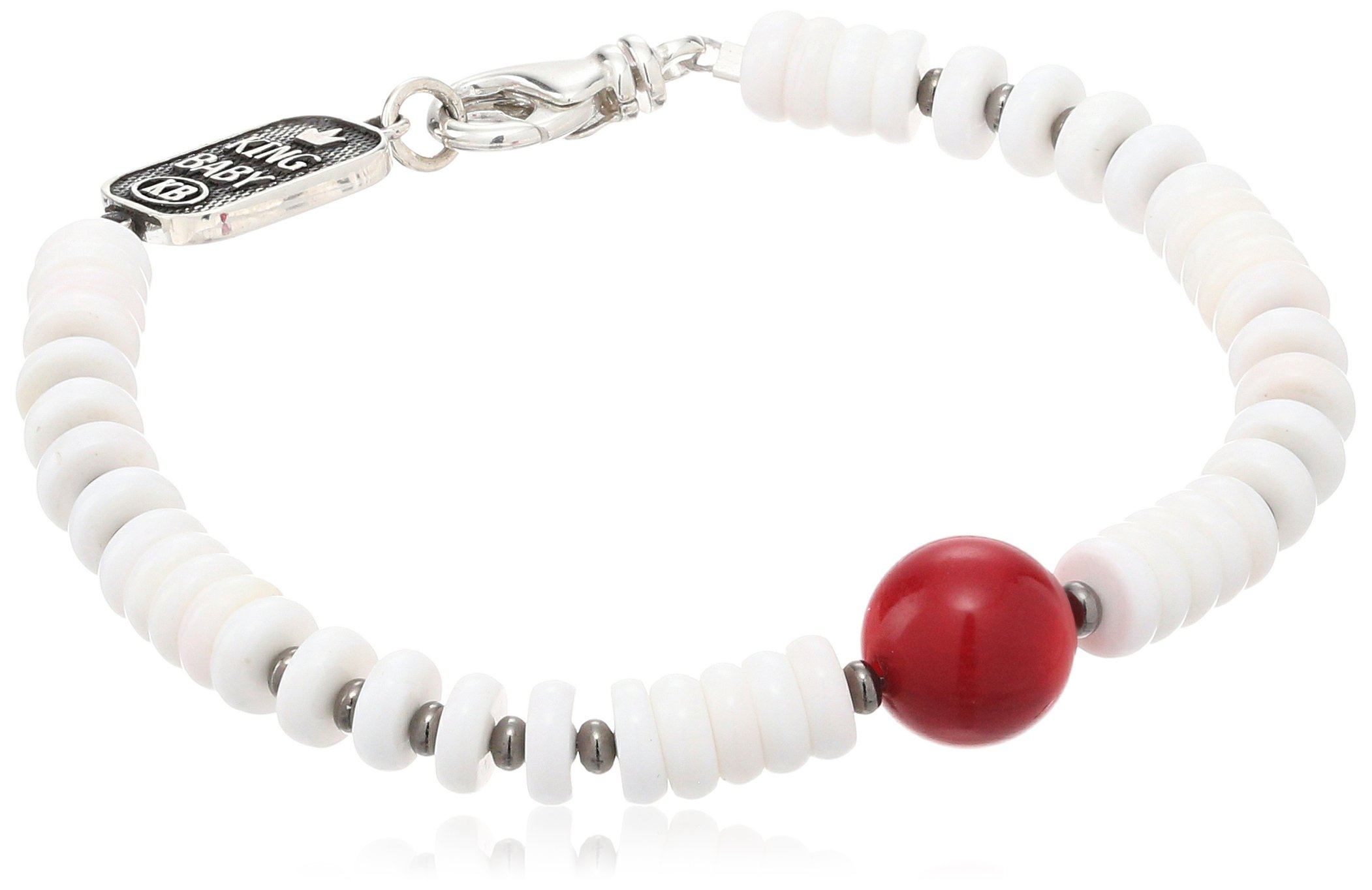 King Baby Unisex White Shell with a Round Red Coral Bead Bracelet, 7.75'' by King Baby (Image #1)