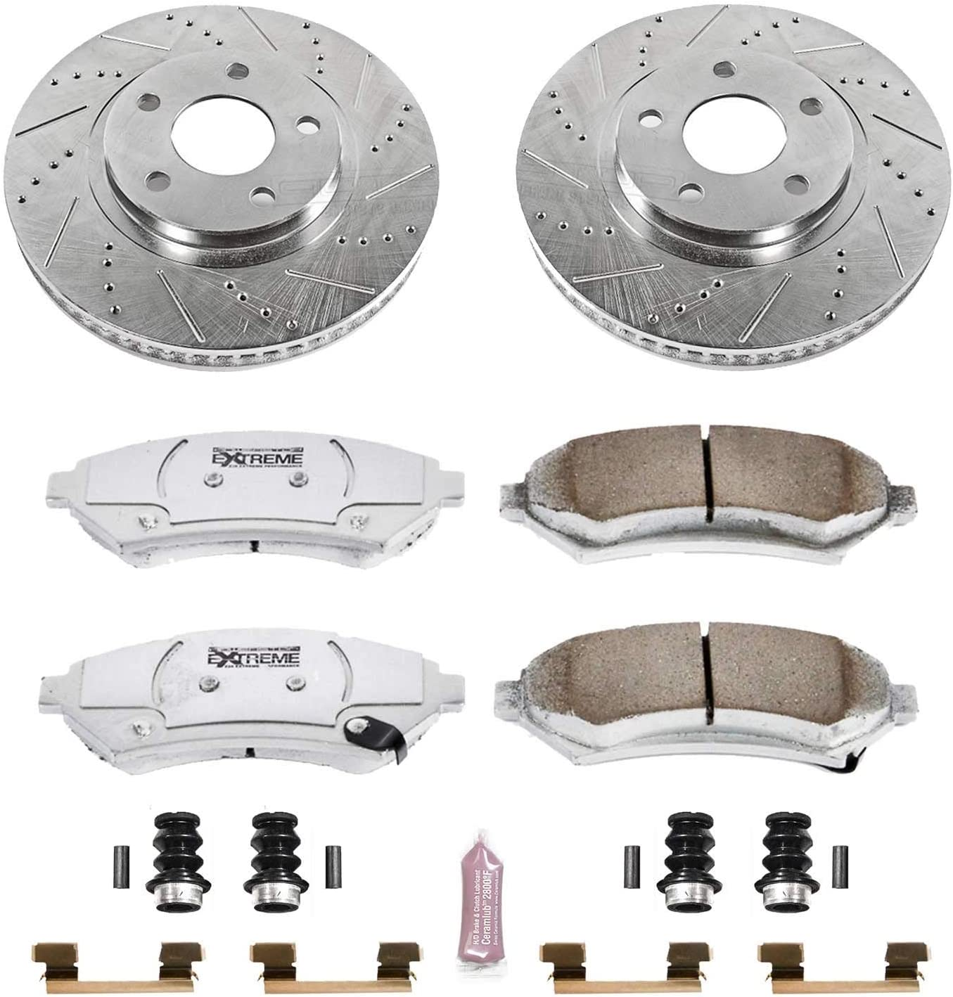 Power Stop K1300 Front and Rear Z23 Evolution Brake Kit with Drilled//Slotted Rotors and Ceramic Brake Pads