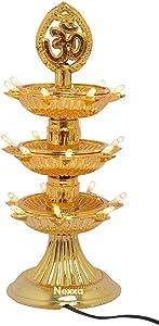 NEXXA 3 Layer-Electric Gold Lamp Deepak Light Lamp Xmas Christmas Diwali Home Decoration LED Light Gift Item