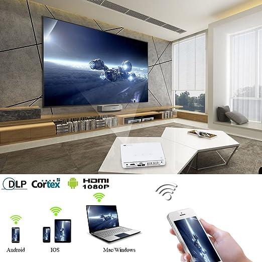 WOWOTO Mini Proyector DLP Cine en casa Android 5.1 Video proyector ...