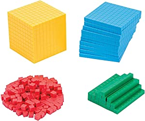 Fun Express Plastic Base Ten Blocks Set - 231 Pieces - Educational and Learning Activities for Kids
