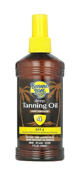 Banana Boat Deep Tanning Oil Spray Sunscreen SPF 4, 8 OZ + FREE Travel Toothbrush, Color May Vary