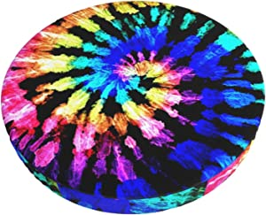 ALOVEUZ Round Bar Stool Cushions Covers Rainbow Spiral Tie Dye Hippie Boho Non Slip Round Seat Cover Protector Elastic Barstools Velvet Slipcover for Circle Office Rolling Swivel Salon Tattoo Chair