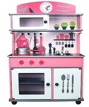wc cocina de madera para nios rosa
