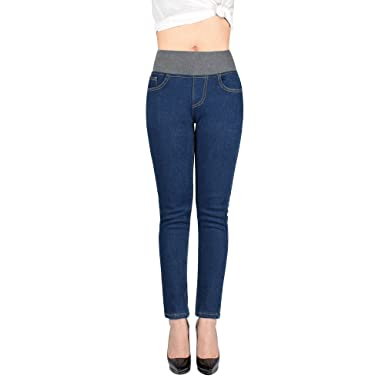 179464b1494 Peacoco Women Plus Size Winter Slim Fit Fleece Lined Skinny Stretch Tight  Jeans High Waist Thick