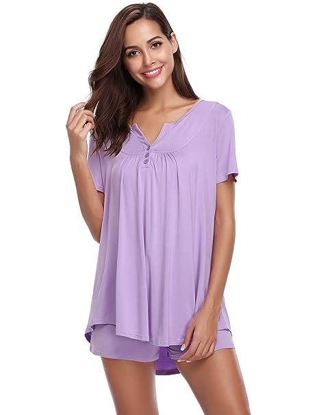 27df78dde73f Hawiton Pijamas Mujer Verano Manga Corta Conjunto de Pijama para Mujer 2  Piezas de Ropa de Dormir Algodón Suave Loungewear, Regalos para Mujer