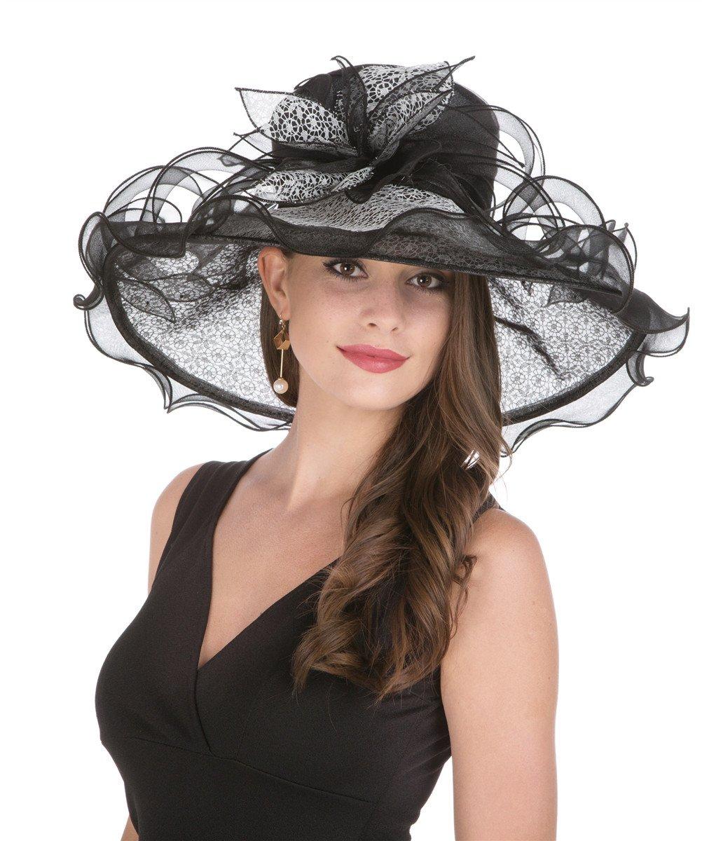 SAFERIN Women's Organza Church Derby Fascinator Bridal Cap British Tea Party Wedding Hat (GZ-Black Lace)