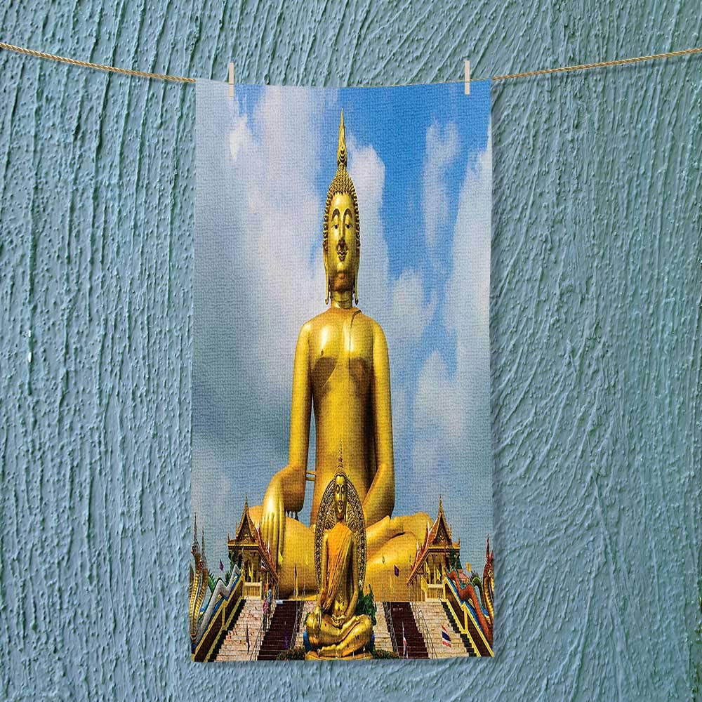 SOCOMIMI Microfiber Towel The Biggest Golden Indian Statue at The Temple in Thai Oriental Sage Asian High Absorbency