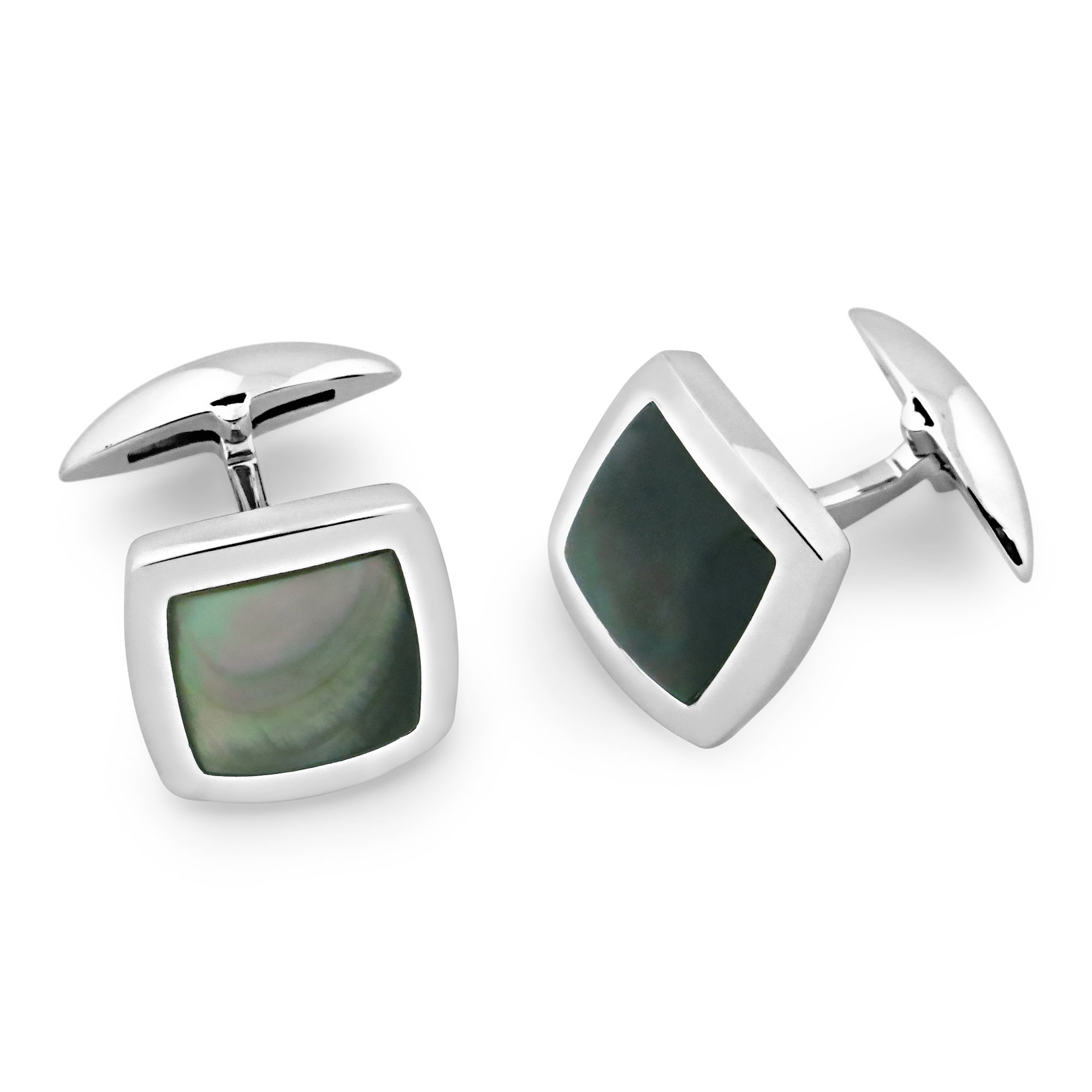 Zsamuel Mens Sterling Silver Black Mother of Pearl Square Cufflinks
