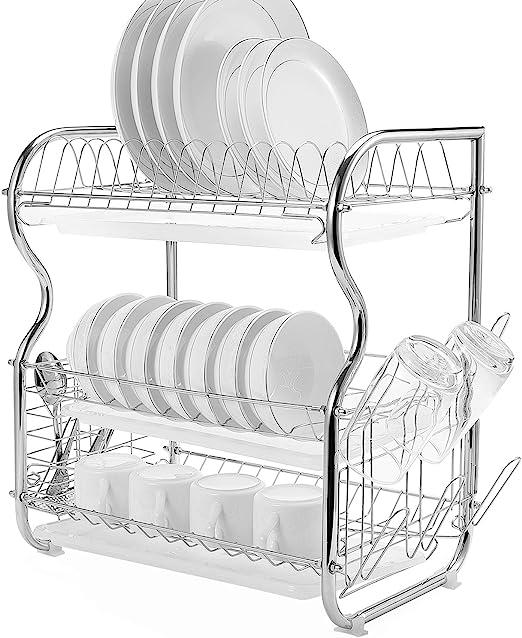 Kitchen Dish Drying Rack  3-Tier Draining Rack Cutlery Tray Storage Rack Holder