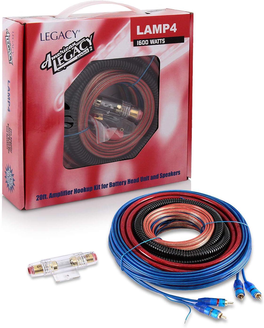 Legacy LAMP4 1600W 4 Gauge Amplifier Wiring Installation Kit