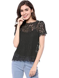 493cf7125e0f94 Allegra K Women s See Through Contrast Peter Pan Collar Lace Top at ...
