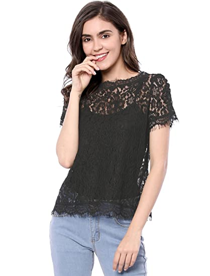 cb216b4033 Allegra K Women's Scalloped Trim See Through Semi Sheer Floral Lace Top