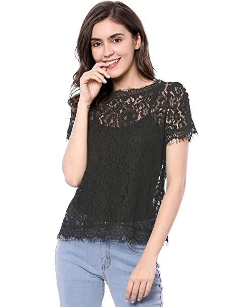 7675c90d8218 Allegra K Women's Scalloped Trim See Through Semi Sheer Floral Lace Top  Black X-Small