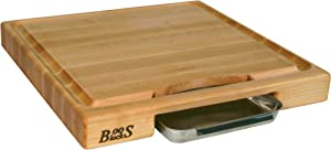 John Boos Block PM18180225-P Newton Prep Master Maple Wood Reversible Cutting Board with Juice Groove and Pan, 18 Inches x 18 Inches x 2.25 Inches
