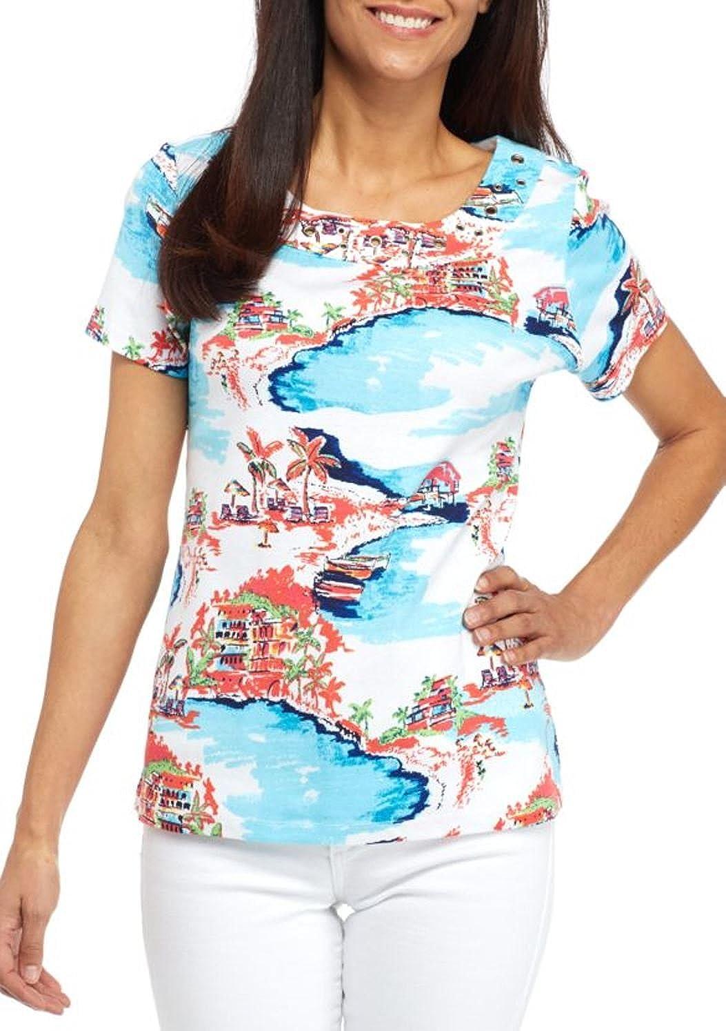 4945bfcb52abb3 Amazon.com  Kim Rogers Women s Petite Size Short Sleeve Grom Frame Tee  (Turquoise-Coral