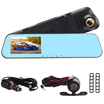 """4.3/"""" 1080P HD Car Dash Camera Dual Cam Front Rear DVR Video Recorder G-sensor"""