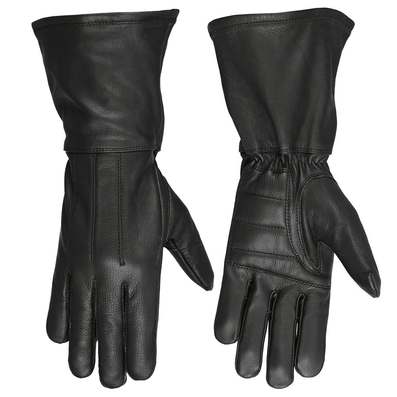 Hugger Women's Classic Motorcycle Gloves Unlined Seasonal Wind Stopper Gauntlet (Small, Black)