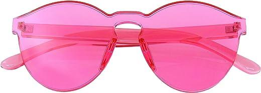 نظارات شمسية ملونة ملونة من قطعة واحدة بدون اطار شفافة للنساء