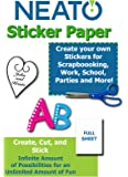 """Printable Sticker Paper - Full Blank Sheet - White Matte - 100 Sheets - For Inkjet/Laser Printers - 8.5"""" X 11"""" - Online Design Sofware Included"""