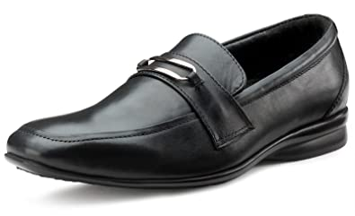 Escaro Men's 100% Genuine Leather Black Formal Slip On Dress Shoes  (ES3053AG_Black_9)