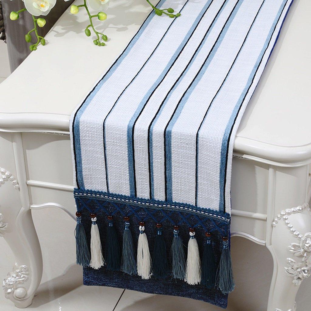 BSNOWF-Table Runner Mesa Runner Blue Stripe Retro Cotton Hemp Coffee Table Modern Simple ( Color : C , Tamaño : 33230cm )