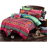 COMFORTEX Boho Bedding Set Queen Size Bohemian Exotic Style Bedding Duvet Covers With Flat Sheet 4-Piece 100% Cotton Excellent Feeling Soft and Comfortable 1 Duvet Cover, 1 Flat Sheet, 2 Pillowcases