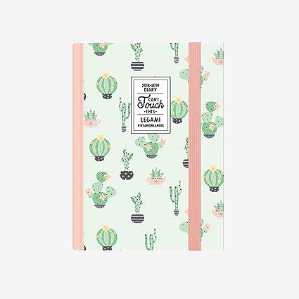 Legami AG160413 - Agenda foto 16 meses semanal con cuaderno pequeña 2018/2019, color cactus