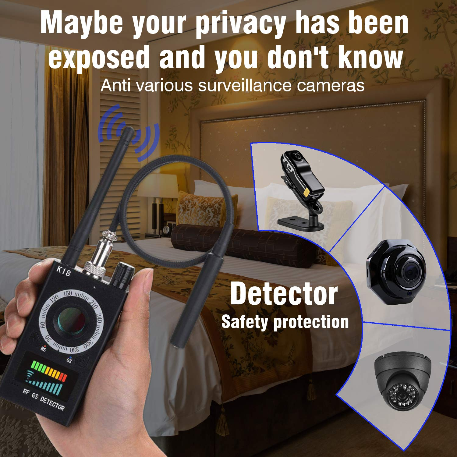 Anti Spy Detector & Camera Finder RF Signal Detector GPS Bug Detector Hidden Camera Detector for GSM Tracking Device GPS Radar Radio Frequency Detector by techtop (Image #6)