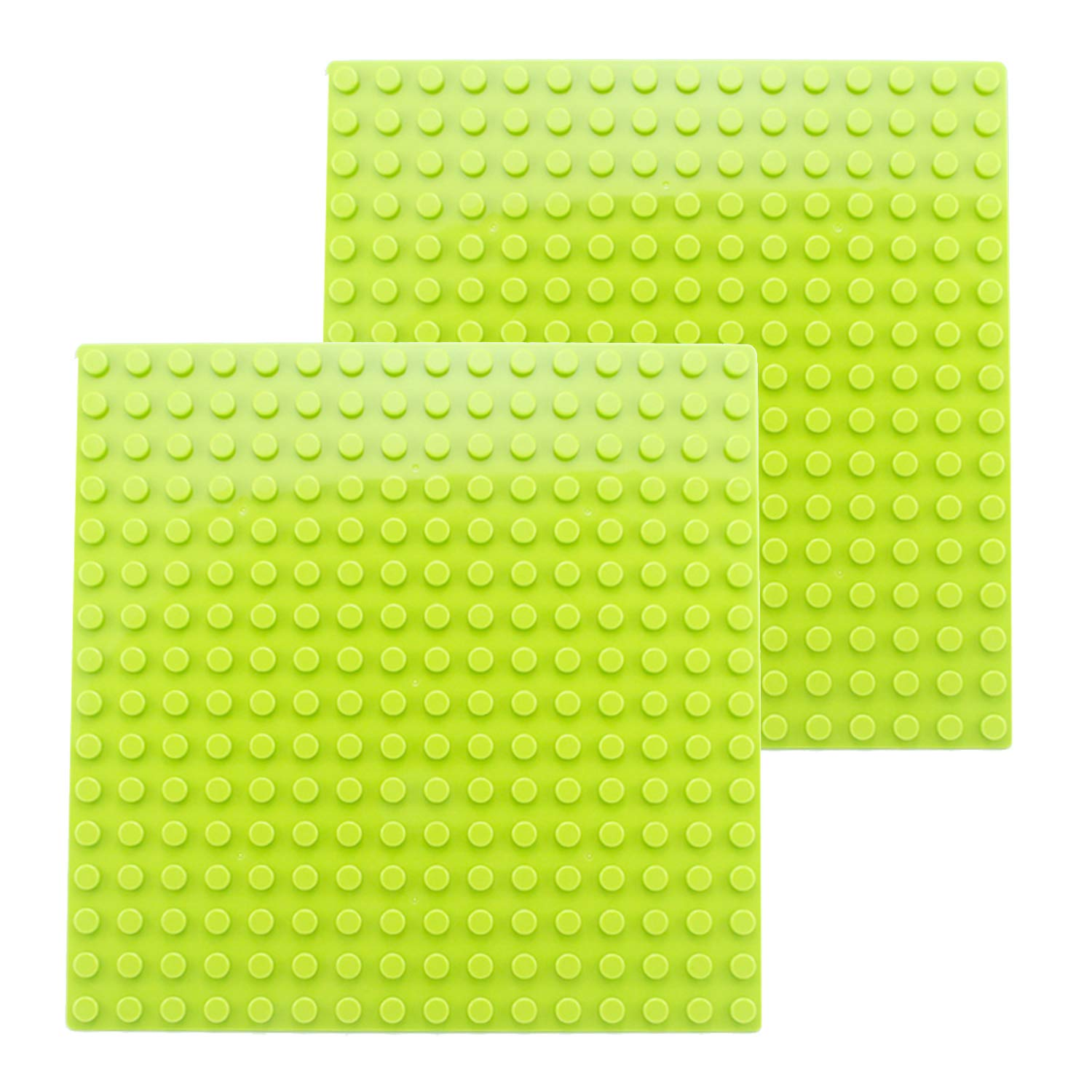 BOROLA Classic 10 x 10 Base Block Plate Compatible with All Major Brands Duplo-Style Bricks Light Green 2Pcs Only with Bigger Size Blocks
