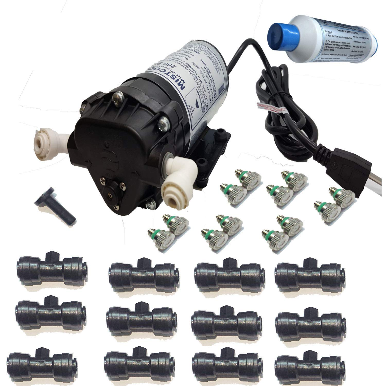 mistcooling Mid Pressure Misting Patio System 160 System-160 PSI-Mid-Pressure-110vac-12 Nozzles Kit-W/Out Enclosure, Black Color Tubing - UV Treated Nylon by mistcooling