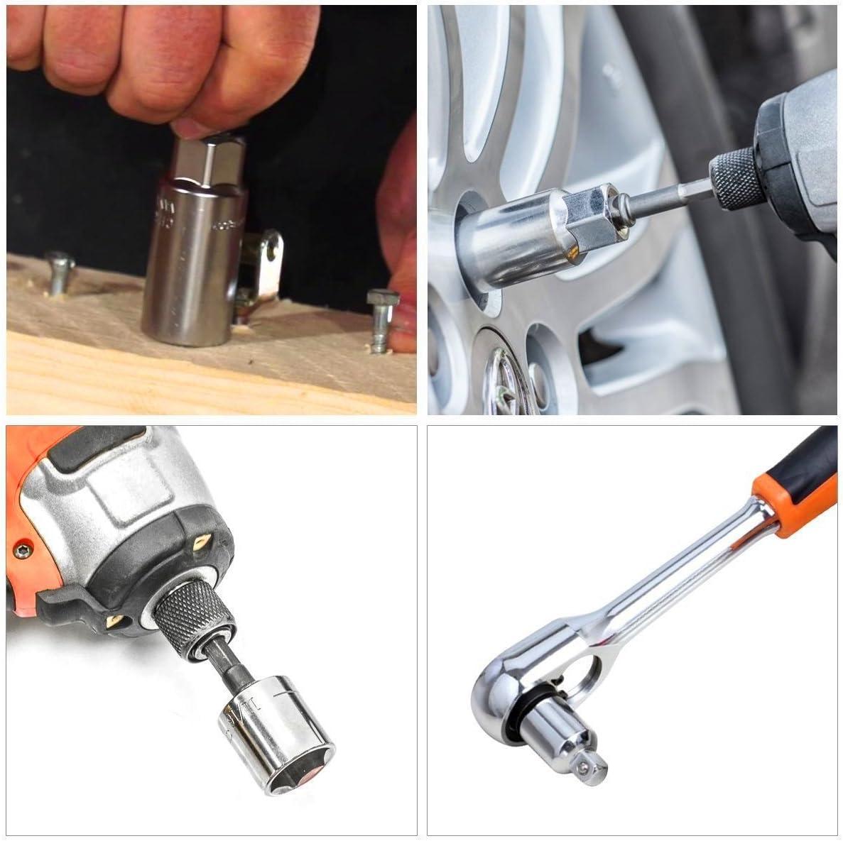 Newder Impact Grade Power Hand Tools Driver Sockets Adapter Extension Set,4Pcs Drive Socket Adapter Converter Reducer Air Impact Socket Wrench Set+3pc 1//4 3//8 1//2 Hex Shank Drill Nut Driver Bit Set