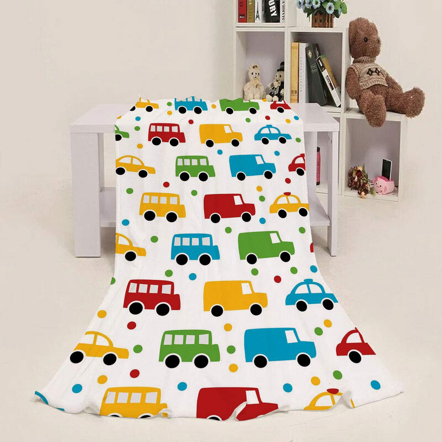 Kid Blanket Cars,Vivid Colored Silhouettes of Transportation Vehicles Bus Taxi Automobile Kids Pattern,Multicolor 50''x 70'' Blanket Super Soft Warm