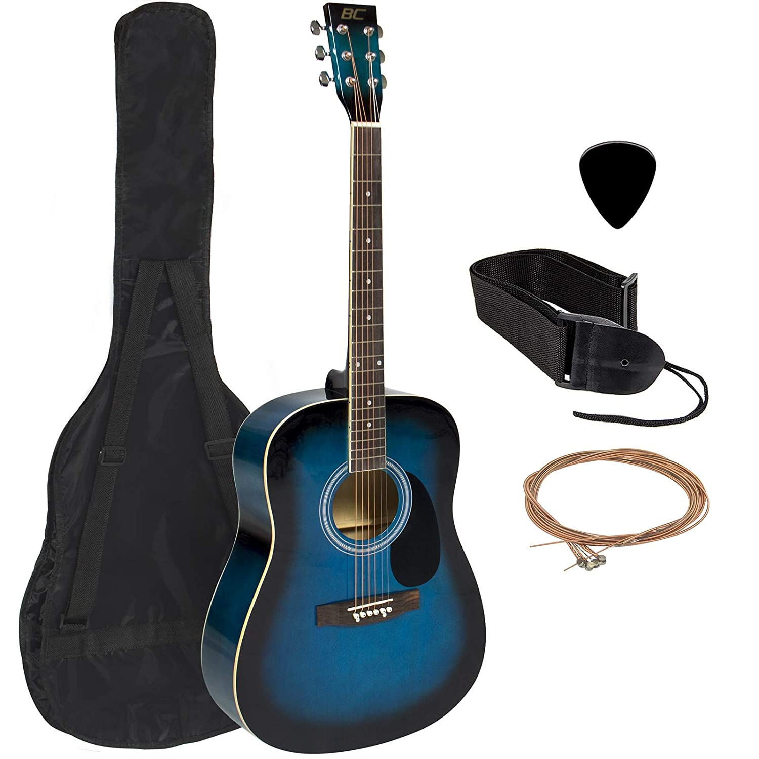 Best Choice Products 41in Full Size All-Wood Acoustic Guitar Starter Kit w/Case, Pick, Strap, Extra Strings - Natural Acoustic Guitar Packages-1080