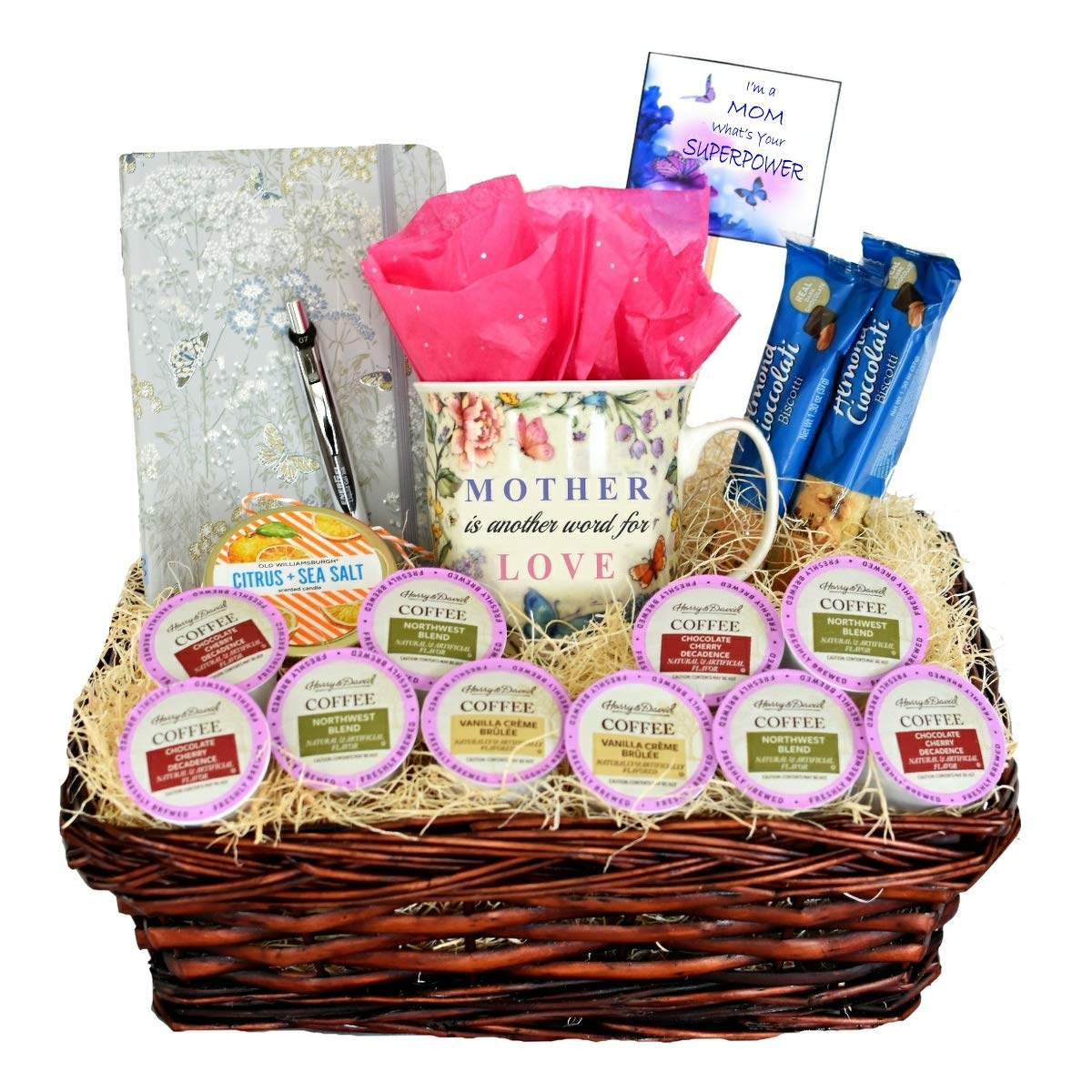 Amazon.com : Harry & David Gourmet K Cup Coffee Pod Gift Basket For Mom - Includes Hardcover Journal & Gel Pen, Porcelain Mug, Scented Candle & Biscotti - A ...