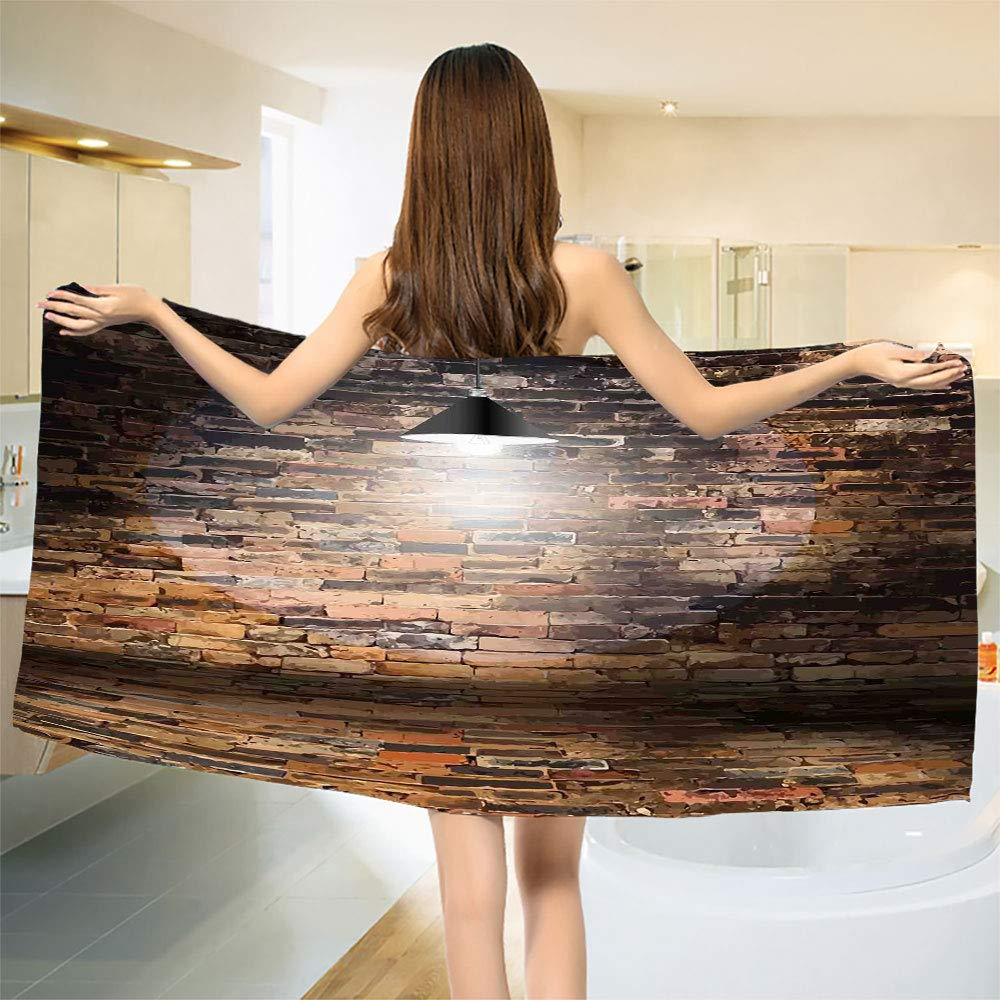 smallbeefly Brick Wall Bath Towel Dark Cracked Bricks and Ceiling Urban Lifestyle Building Modern City Theme Image Bathroom Towels Black Red Size: W 31.5'' x L 82''