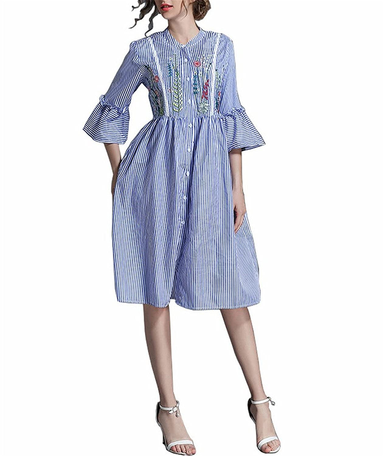 3bdb708451997 Henraly Simgent Blue Striped Empire Waist Floral Embroidery Dress ...