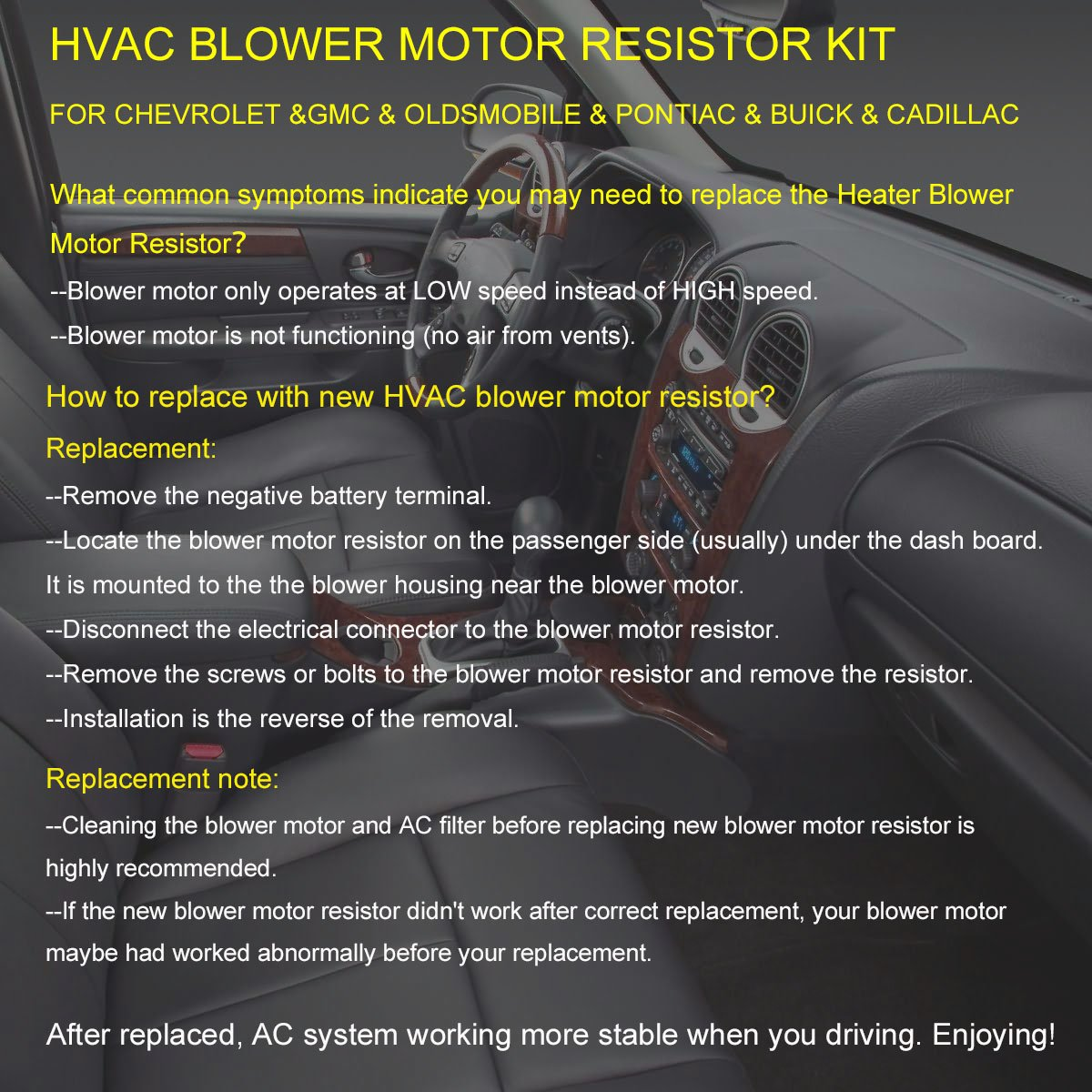 HVAC Fan Blower Motor Resistor Kit With Harness Replaces